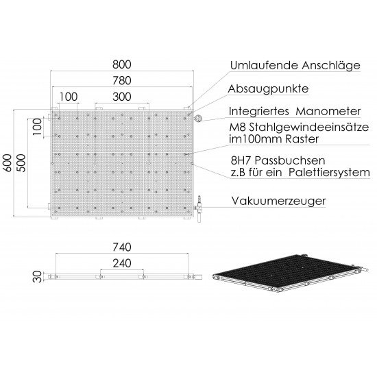Vacuum table VT8060 RAL PRO